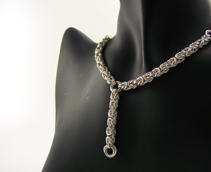 Sterling Silver Byzantine Necklace with Byzantine Drop