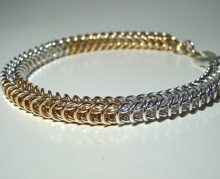 Sterling Silver and Gold Filled Box Chain Bracelet