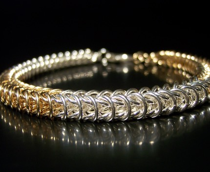 Sterling Silver & Gold Filled Box Chain Weave Bracelet