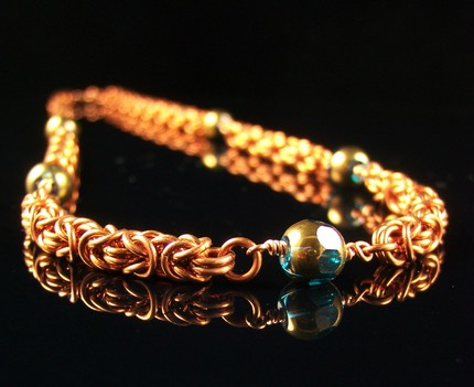 Copper Byzantine Beaded Necklace