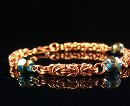 Copper Byzantine Beaded Bracelet